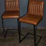 brown leather bar stools - 2