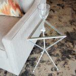 silver triangular drink table