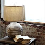 brown and white striped lamp