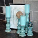 teal candlesticks