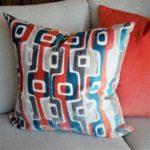 orange & blue contemporary pillow