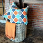 orange dot pillows