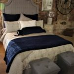 gray and navy bed
