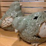 Teal ceramic birds (2)